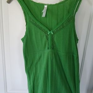 Green lace-trim tank